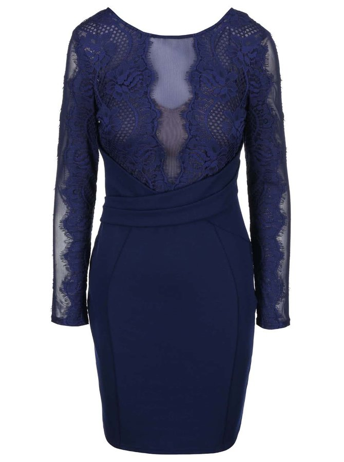 Rochie bleumarin cu top din dantelă Lipsy