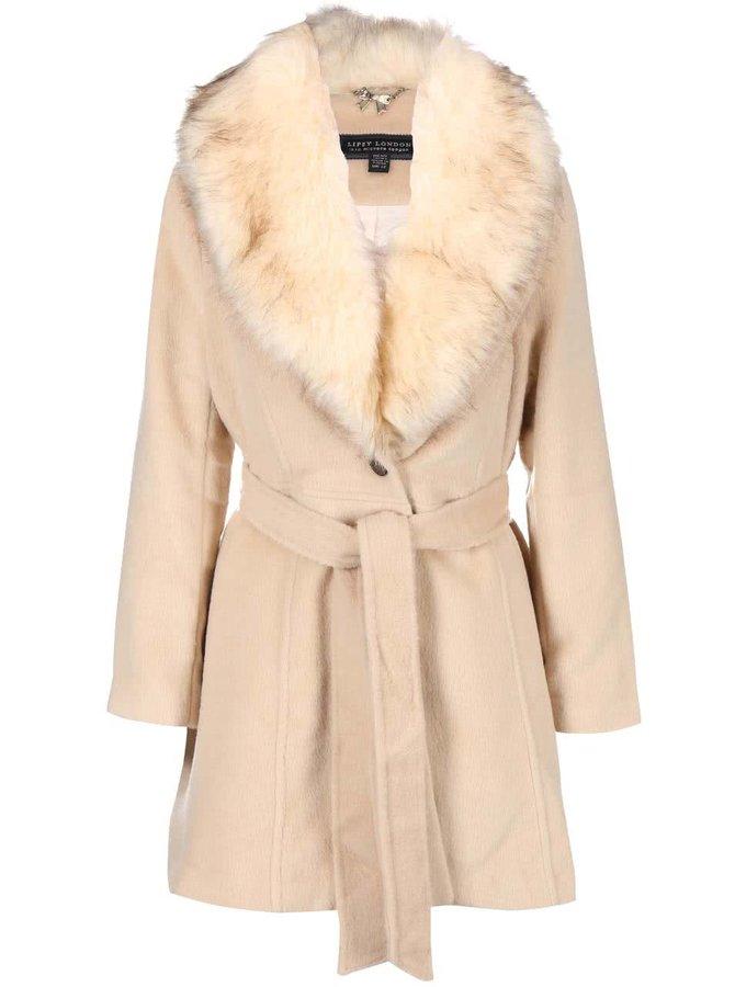 Krémový kabát s umělou kožešinou Lipsy