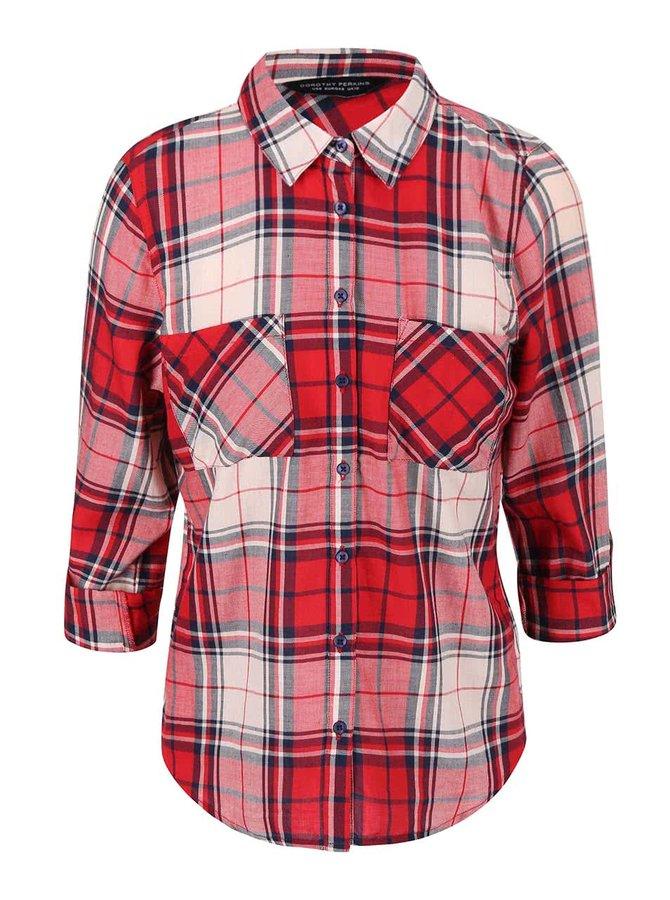 Krémovo-červená kockovaná košeľa Dorothy Perkins