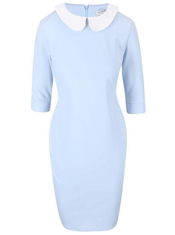 Svetlomodré šaty s bielym golierikom Goddiva