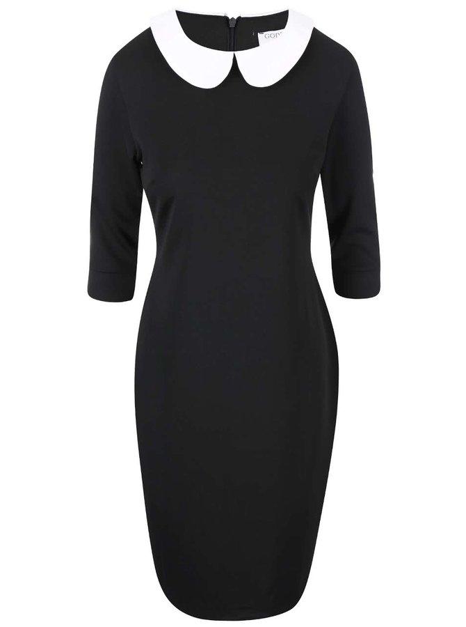 Černé šaty s bílým límečkem Goddiva