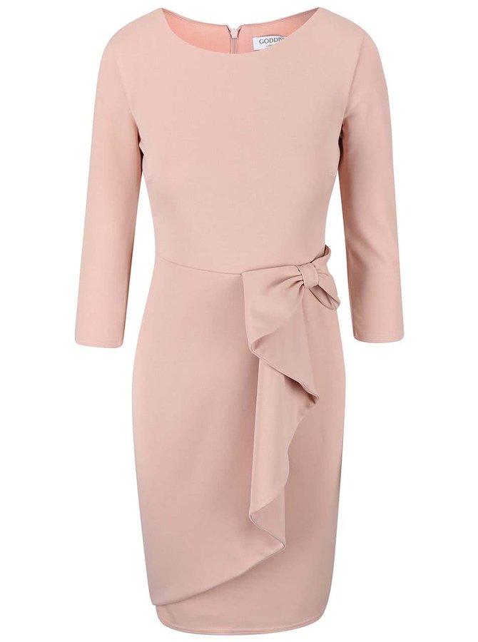 Púdrovoružové šaty s ozdobnou mašľou Goddiva