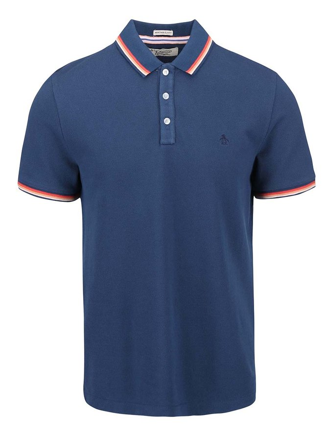 Tricou polo bleumarin cu margini colorate Original Penguin Volley