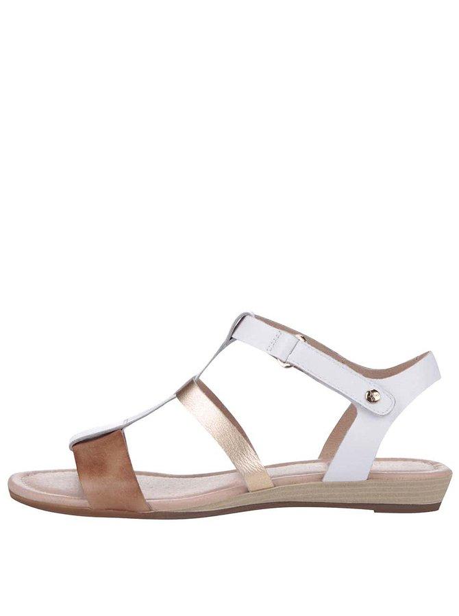 Sandale din piele maro cu alb și detalii metalice Pikolinos Alcudia