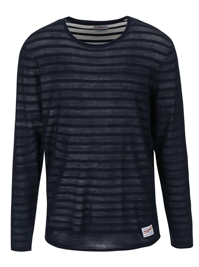 Pulover bleumarin cu dungi Jack & Jones Kingston