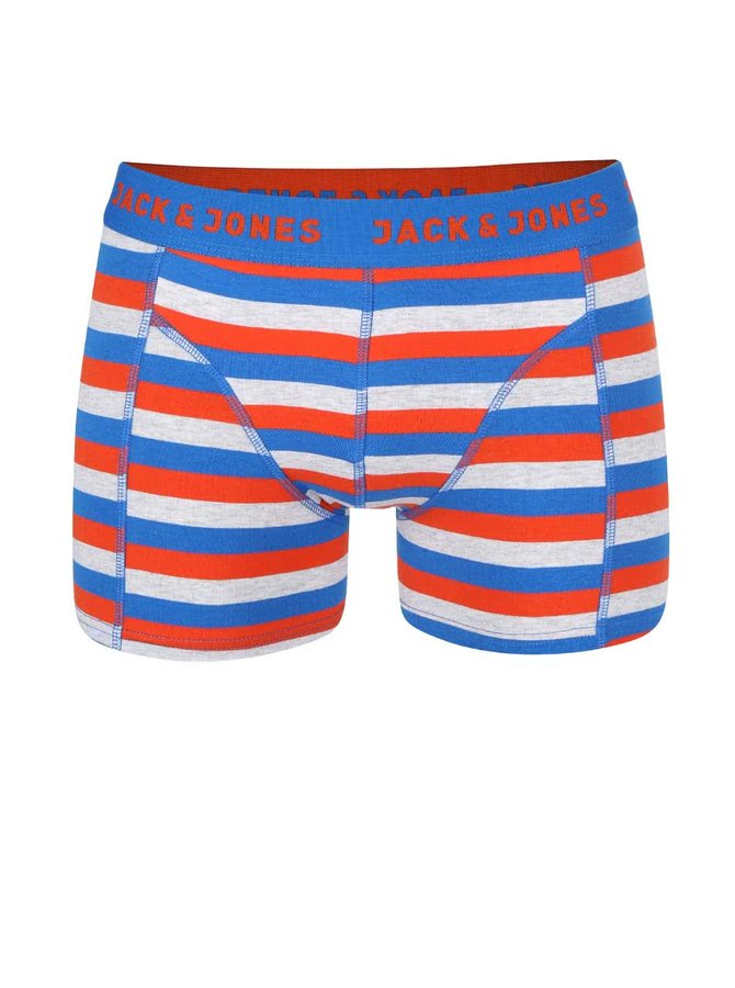 Boxeri roșii și albaștri cu dungi Jack & Jones Stripe