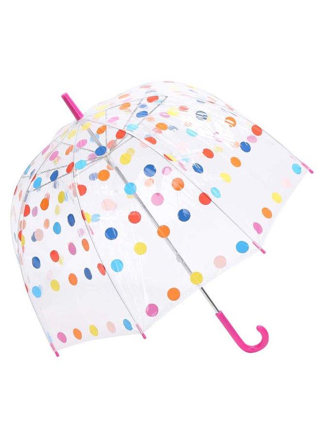 Pestrobarevný puntíkatý deštník s červeným madlem Lindy Lou