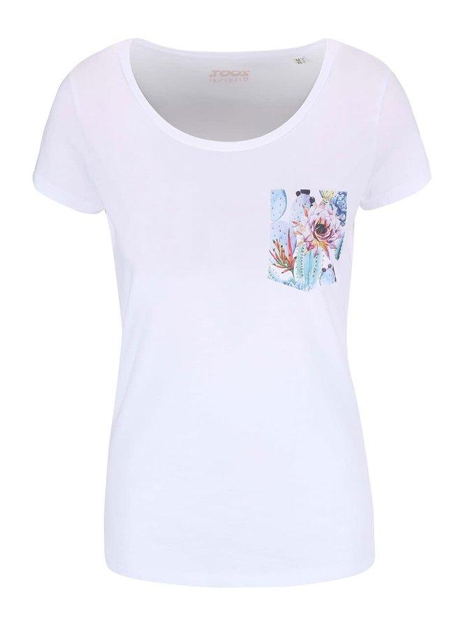 Tricou alb pentru femei cu buzunar ZOOT Original Floral