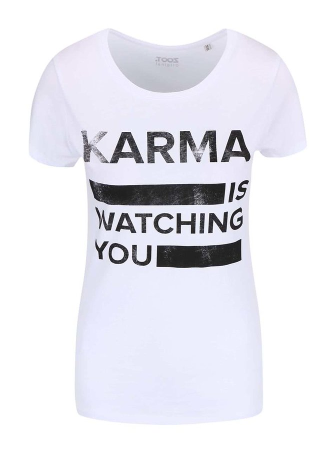 Bílé dámské tričko ZOOT Originál Karma Is WatchingYou
