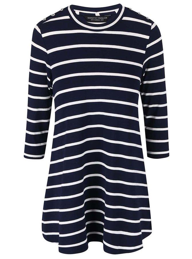 Tricou albastru cu dungi și mâneci 3/4 Dorothy Perkins