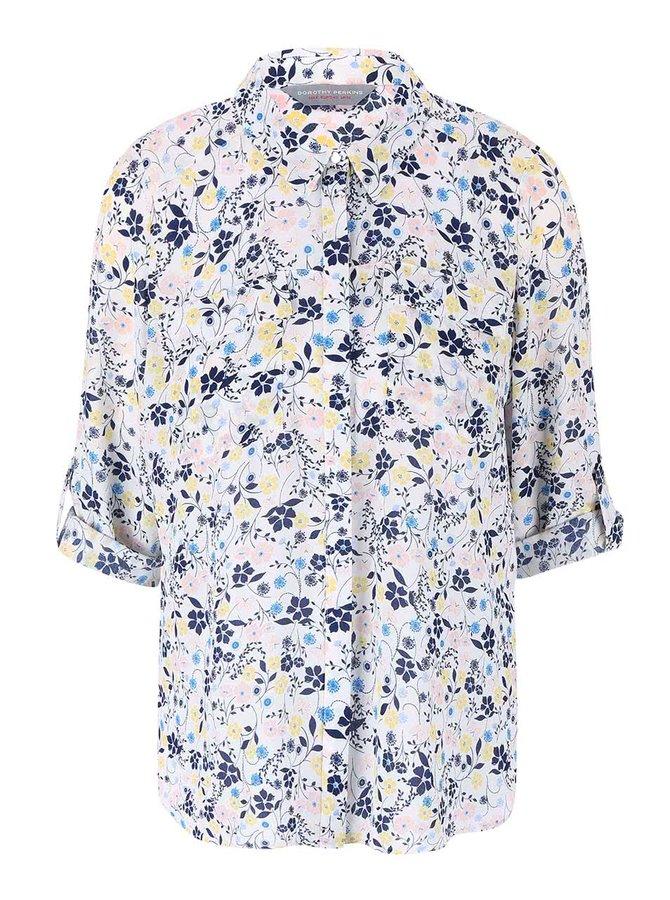 Bluză albă cu flori și mânecă 3/4 Dorothy Perkins Petite