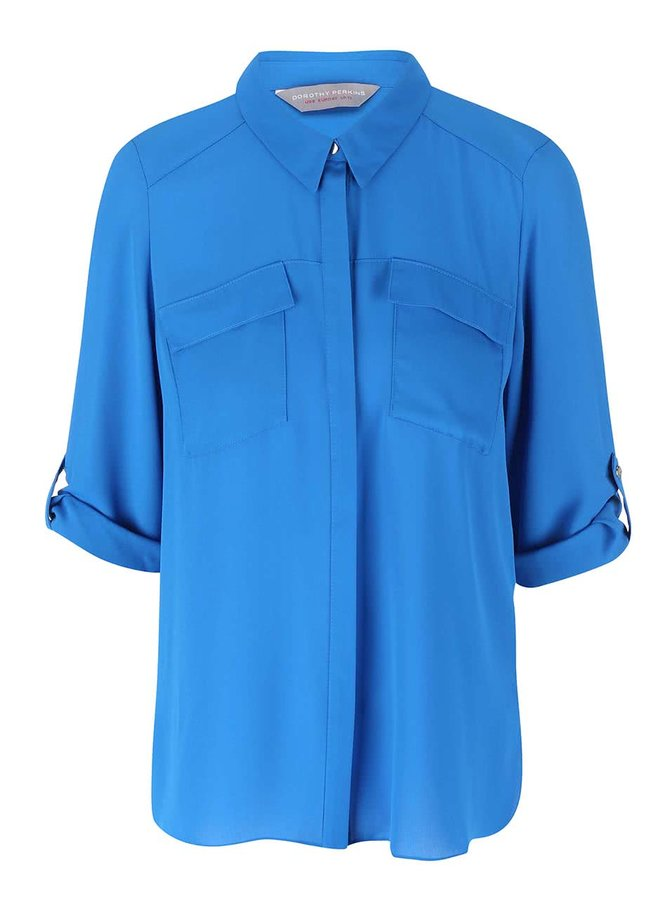 Modrá košeľa s 3/4 rukávmi Dorothy Perkins Petite