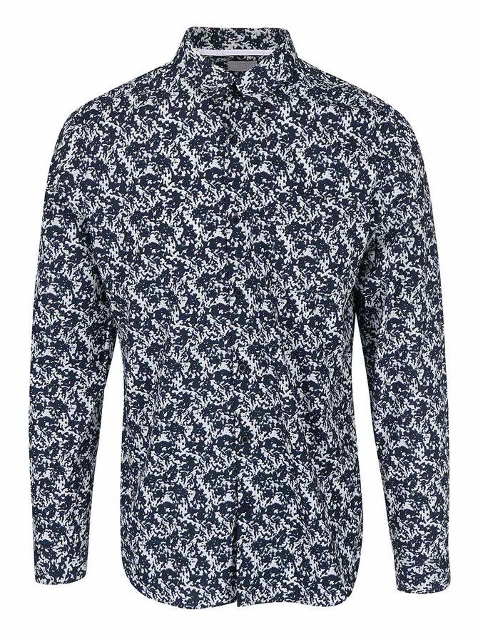Krémovo-modrá vzorovaná košile Selected Homme Pass