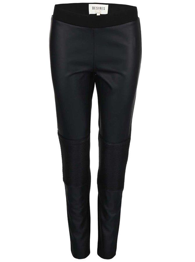 Černé koženkové kalhoty Desires Tarus