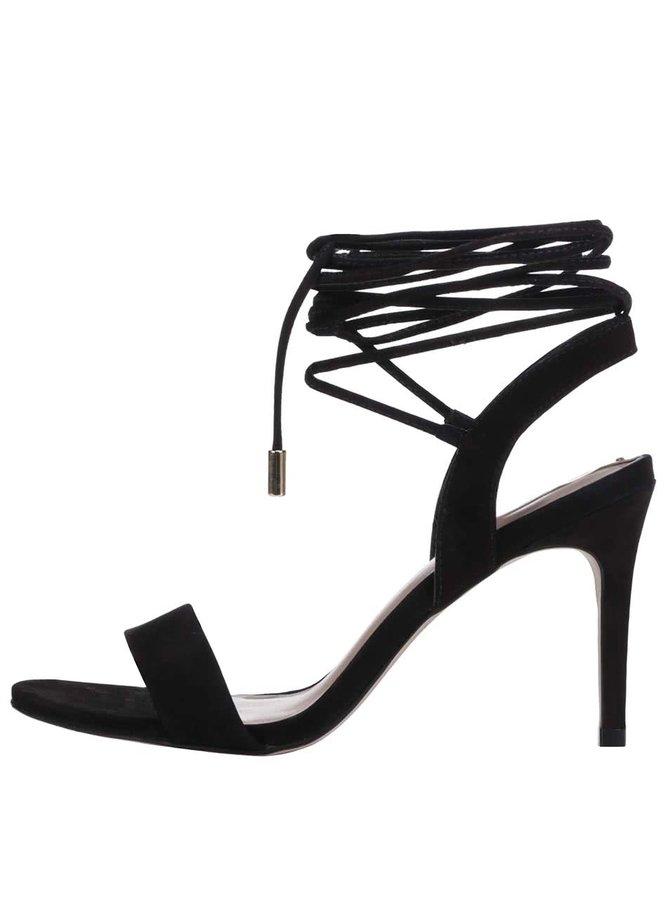 Sandale negre din piele pe gleznă ALDO Marylin