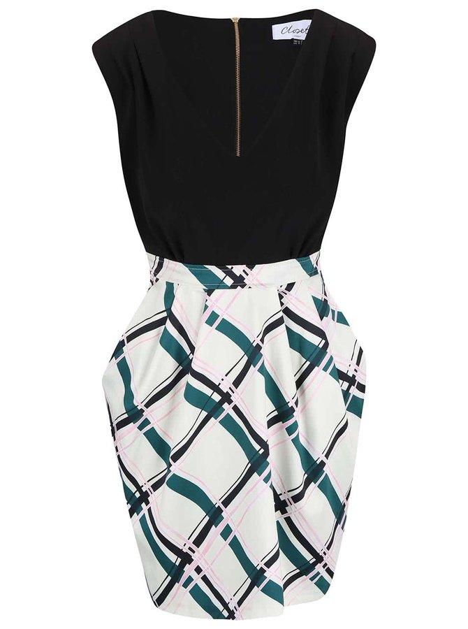 Rochie Closet negru cu crem și fustă imprimată