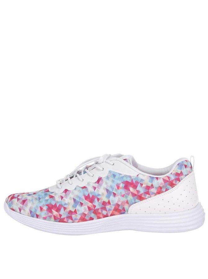 Pantofi sport Tamaris albi cu triunghiuri colorate