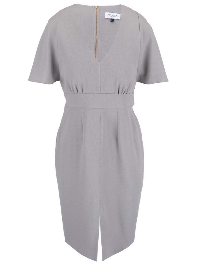 Sivé šaty s rozparkom Closet