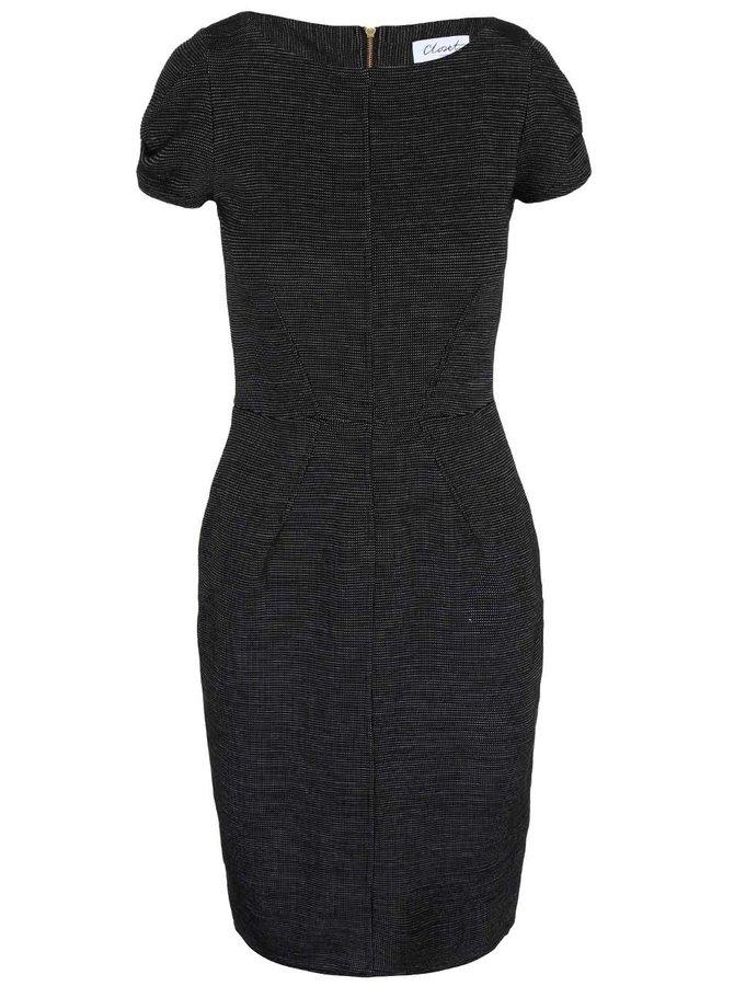 Černé žíhané pouzdrové šaty Closet