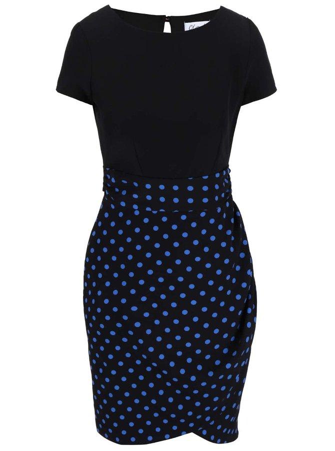 Černé šaty s puntíkovanou sukní Closet