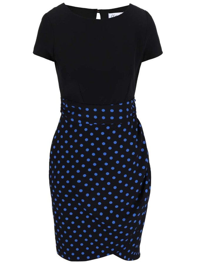 Čierne šaty s bodkovanou sukňou Closet