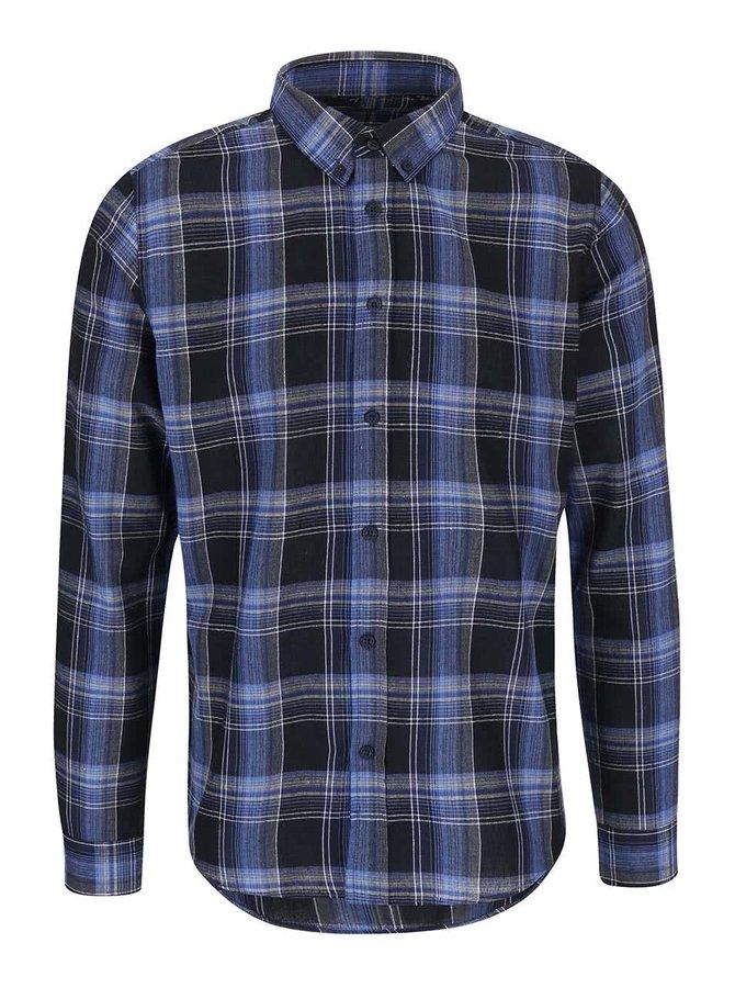 Tmavomodrá károvaná košeľa !Solid Berwin