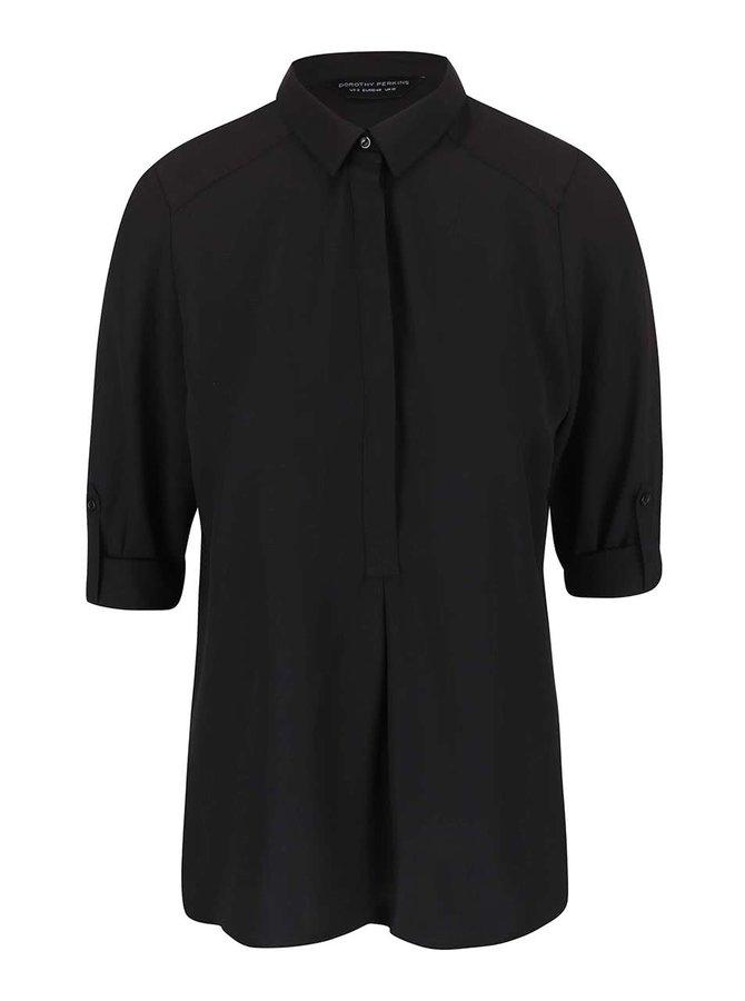 Bluză Dorothy Perkins neagră cu mânecă trei sferturi