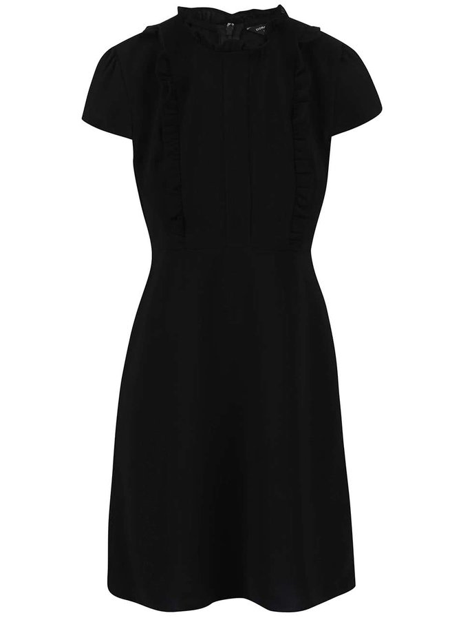 Čierne šaty s volánom Dorothy Perkins