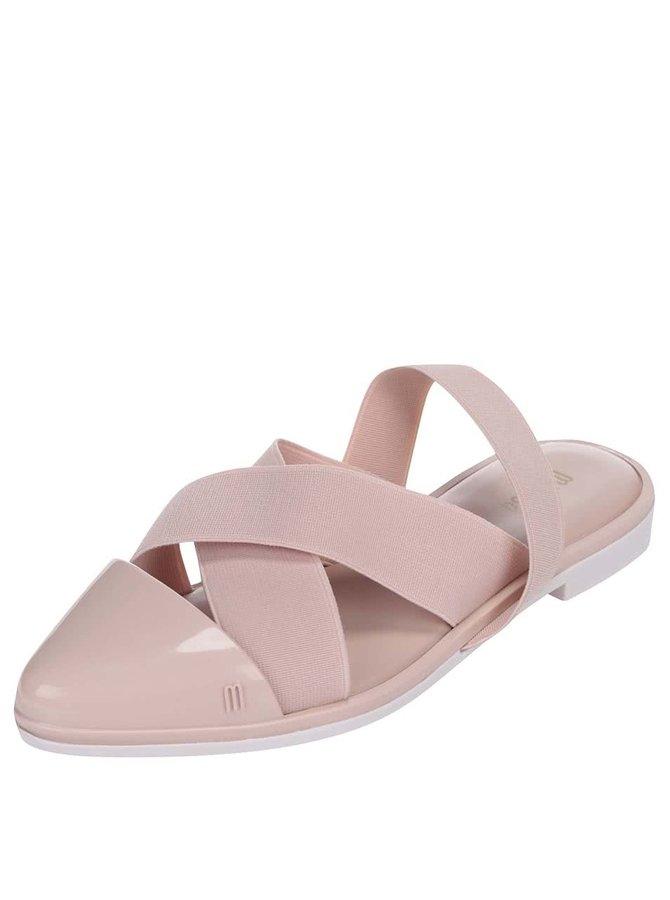 Sandale Melissa Good Vibes roz cu vârf ascuțit și talpă plată