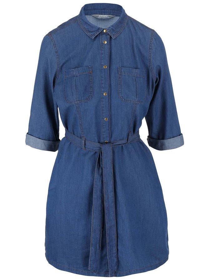 Modré rifľové šaty Dorothy Perkins