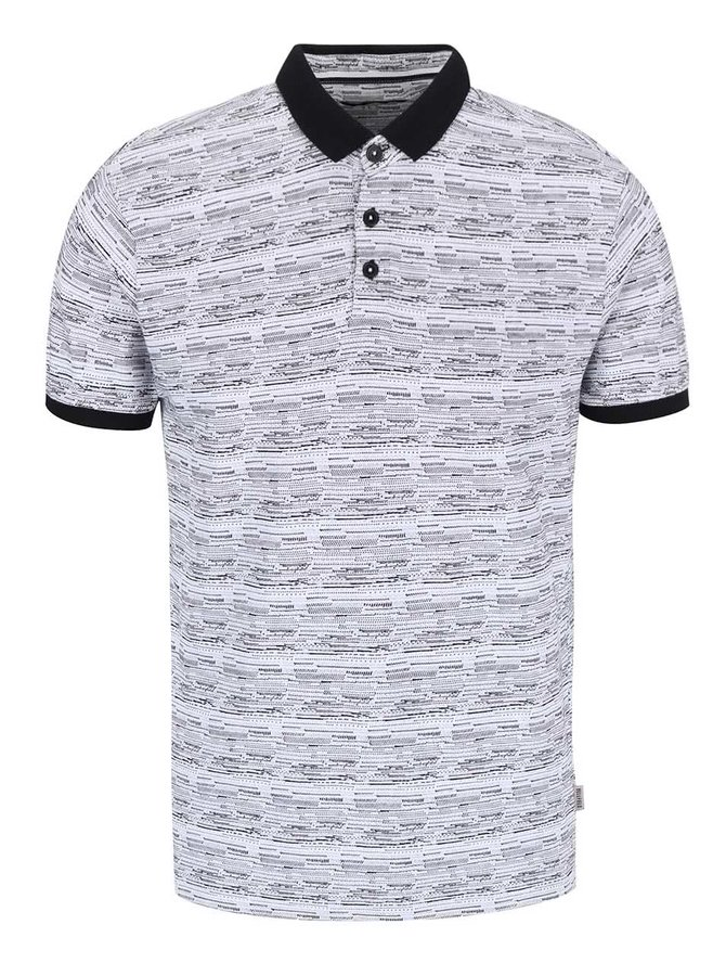 Bellfield Wrexham White Patterned Polo T-shirt with Black Hems