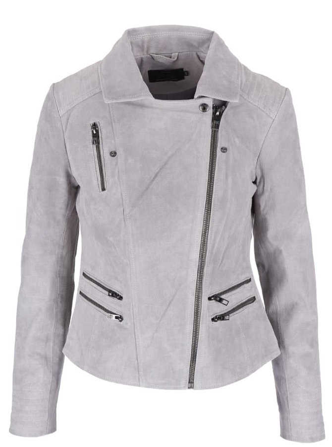 Jachetă gri ONLY Justine din piele