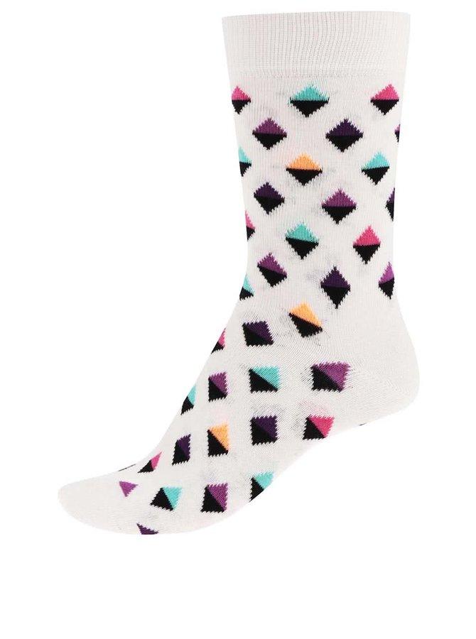 Șosete Happy Socks Mini Diamond de damă crem cu triunghiuri