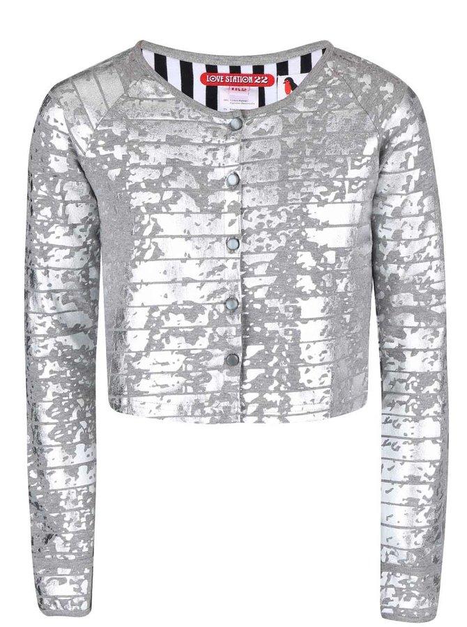 Sivý vzorovaný dievčenský gombíkový sveter LoveStation22 Robin