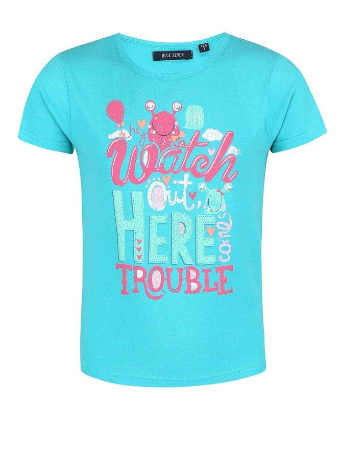 Tricou Blue Seven pentru fete turcoaz cu imprimeu cu monstru
