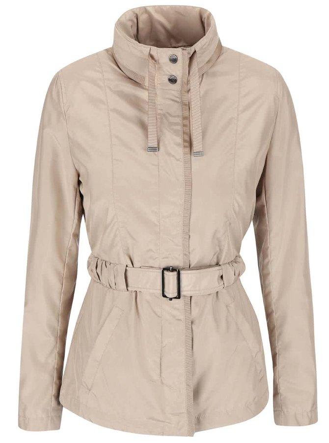 Béžový kabát s opaskom Geox
