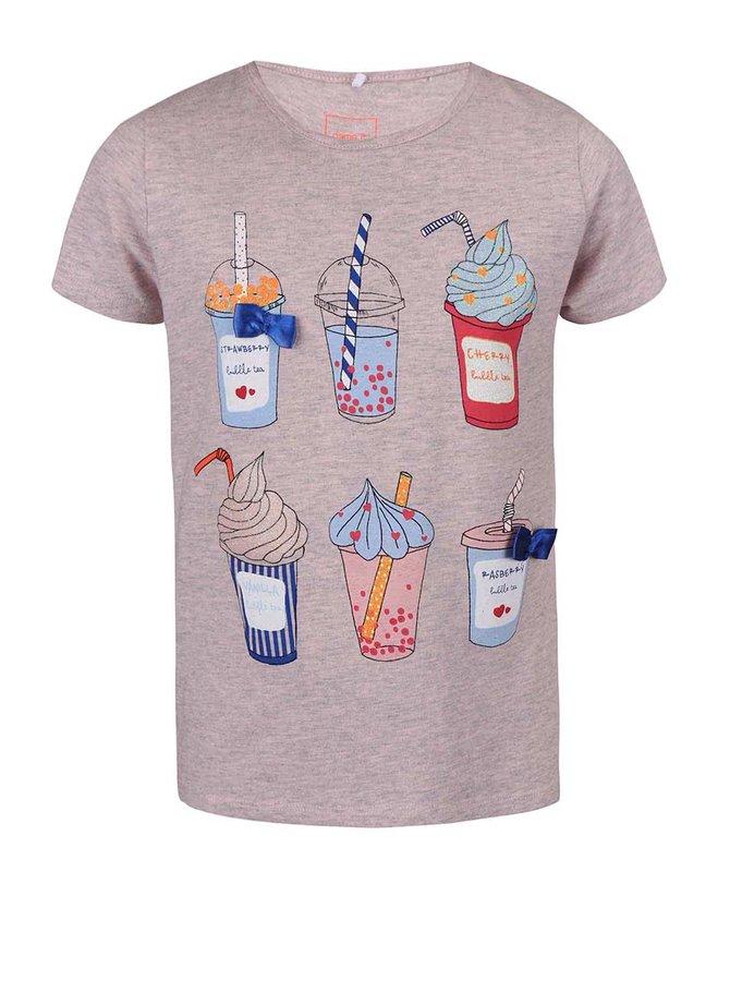Ružové žíhané dievčenské tričko s dezertmi name it Fabob