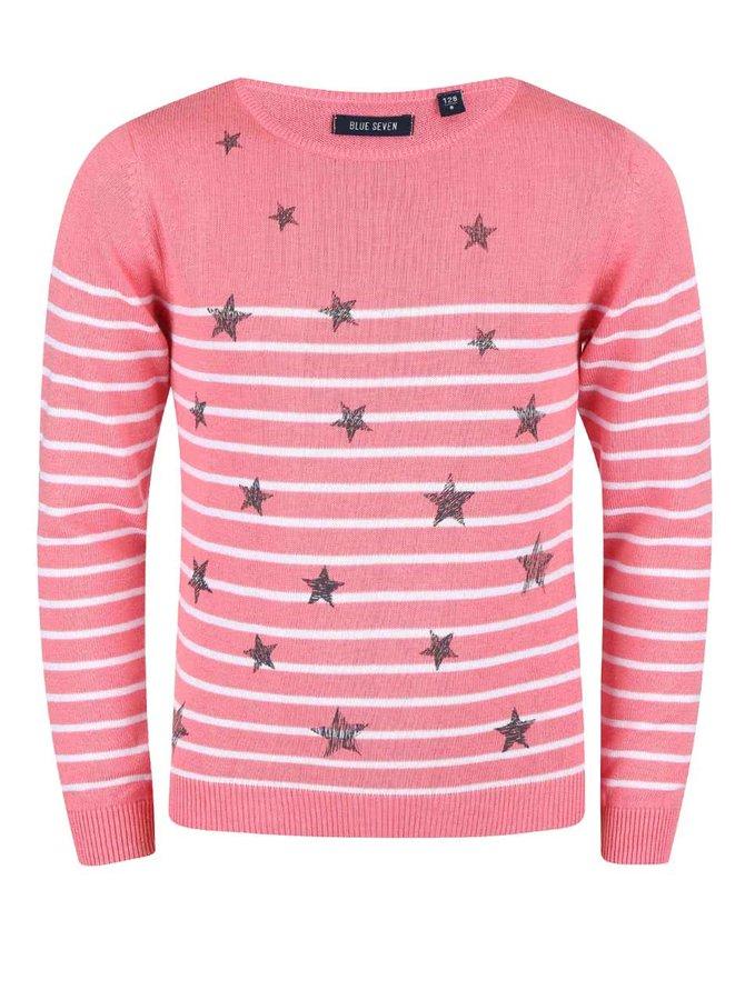 Pulover Blue Seven pentru fete roz cu imprimeu cu stele