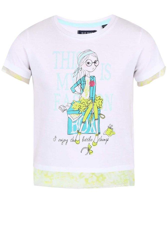 Žluto-bílé holčičí tričko s potiskem Blue Seven