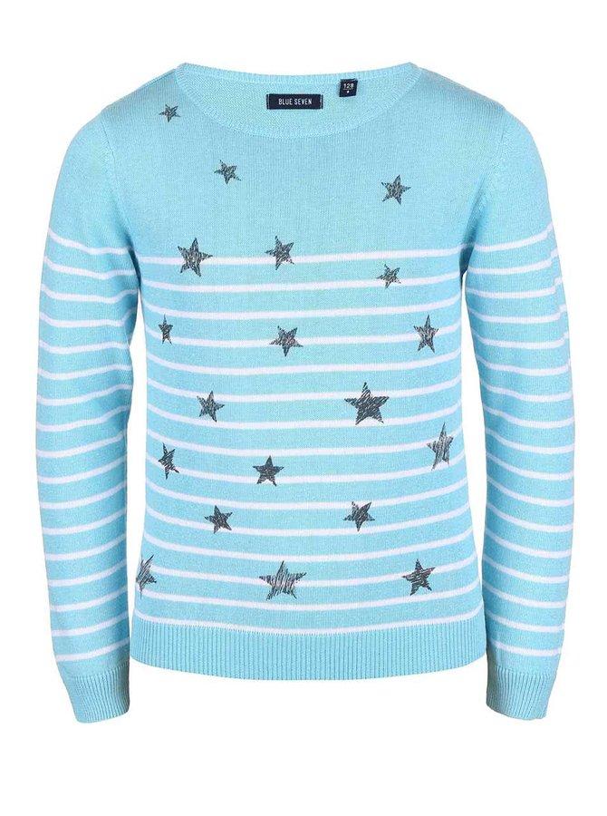 Pulover Blue Seven pentru fete albastru cu imprimeu cu stele