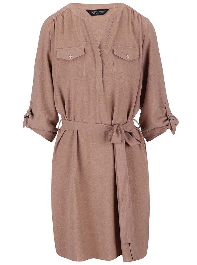 Světle hnědé šaty s kapsami a zavazováním Dorothy Perkins