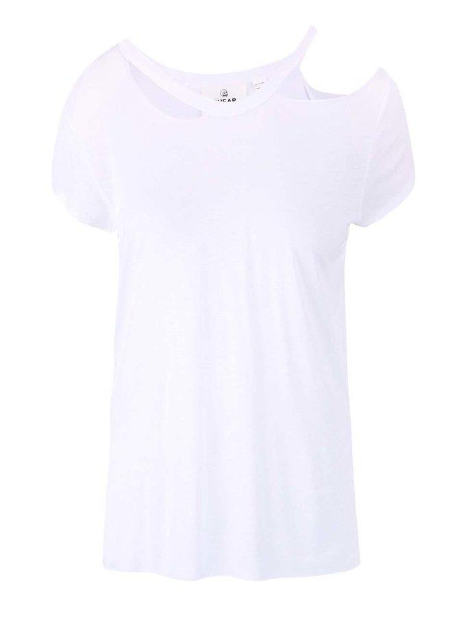 Bílé dámské tričko s průstřihy u krku Cheap Monday