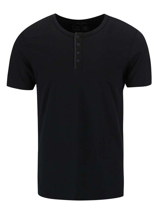 Tricou Blend negru cu nasturi