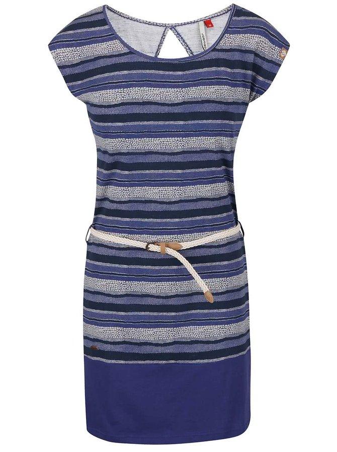 Modré pruhované šaty s páskem Ragwear Soho Stripe