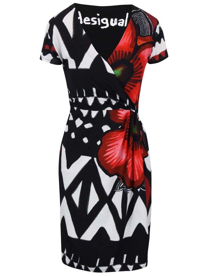 Bielo-čierne vzorované šaty s prekladaným výstrihom Desigual Katia
