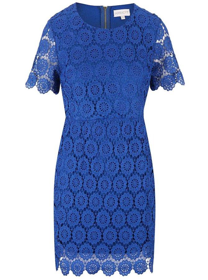 Modré krajkové šaty s krátkými rukávy Apricot