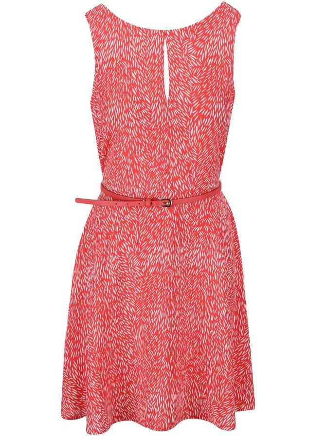 Koralové vzorované šaty s tenkým opaskom Apricot