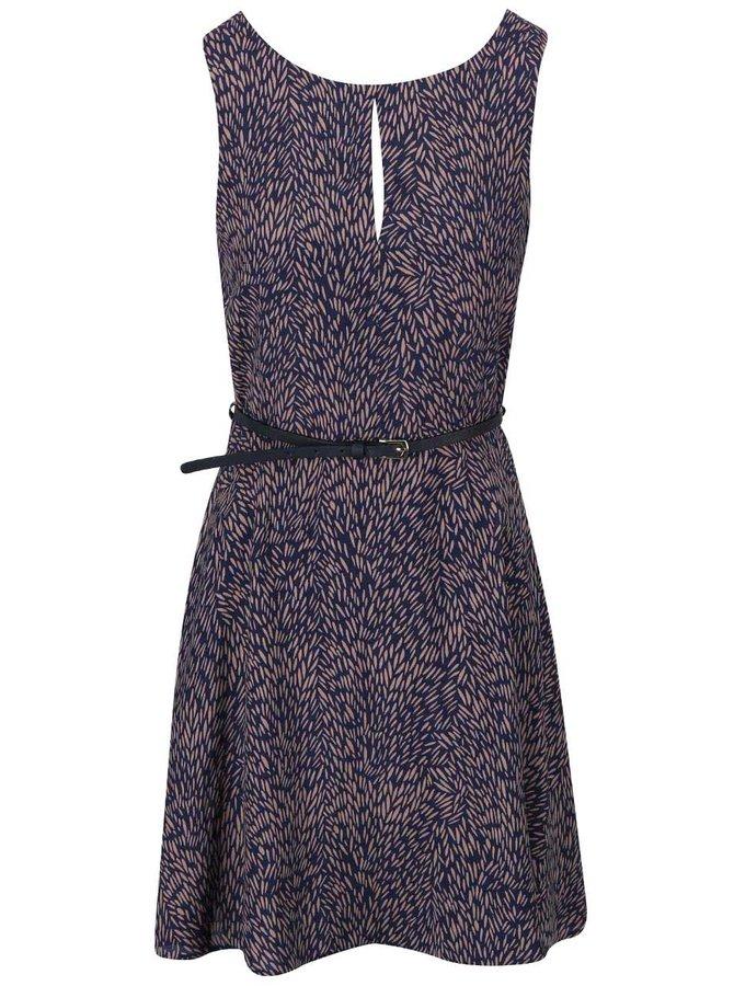 Modré vzorované šaty s tenkým opaskom Apricot