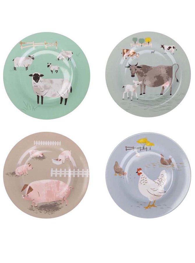 Kolekcia 4 tanierov s farmárskymi zvieratami Magpie Hugletts Wood