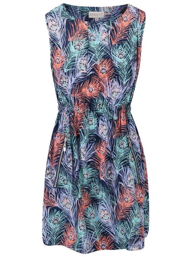 Modré šaty s motivem pavích per Apricot